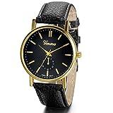 Jewelrywe Orologio da Polso Business Simple Neutral Quadrante Nero Band Wrist Watches Golden Pointer (Nero)