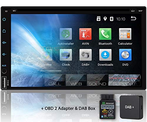 Tristan Auron BT2D7018A-DVD Autoradio mit DAB Box + OBD2 Adapter, 7\'\' Touchscreen Bildschirm, Android 9.0, GPS Navi, Bluetooth Freisprecheinrichtung, Quad Core, CD DVD Laufwerk, USB/SD, 2 DIN