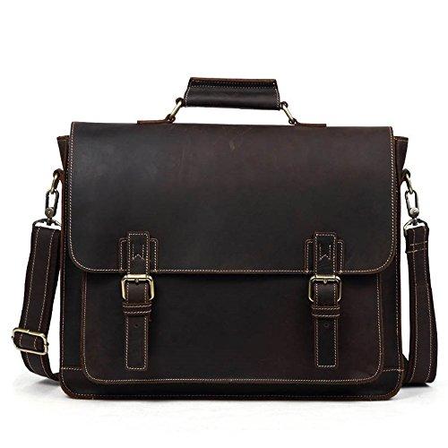 WaWeiY Aktentaschen Aktentasche Europäische und amerikanische Mode Herrenhandtasche Umhängetasche Herrentasche Retro Business-Tasche, Multi-Color optional, 40x33x9cm (Color : Coffee Color) - Europäische Aktentasche