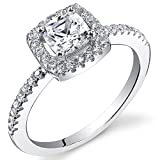 Revoni Sterling Silver Halo Style Cushion Cut Simulated Diamond Engagement Ring Size P,