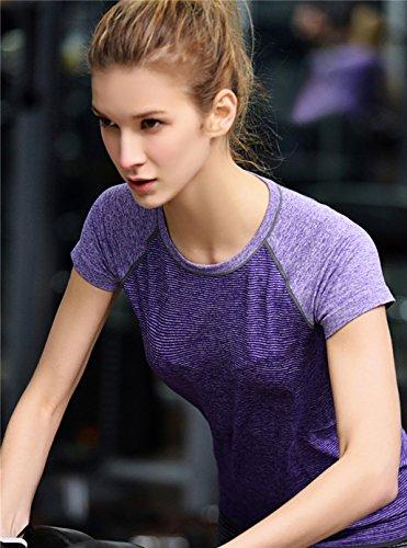 Qutool T-shirt pour femme Entraînement sportif et Yoga 2Purple