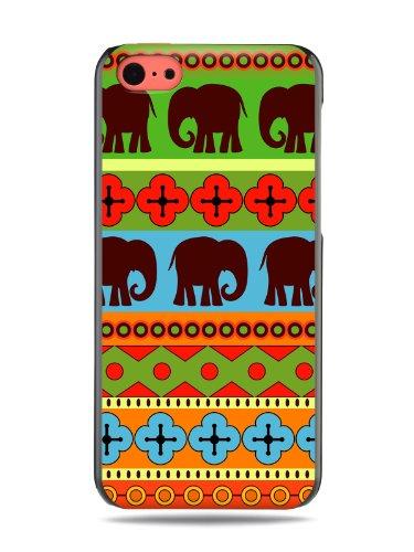 """GRÜV Premium Case - Design """"Afrikanische Elefanten, Tribalkunst"""" - Qualitativ Hochwertiger Druck Schwarze Hülle - für Apple iPhone 5c"""