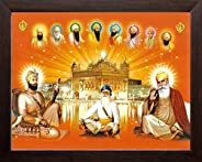 Art n Store All Ten Sikh Gurus and Golden Temple, HD Printed Religious & Wall Decor Painting with Plane Wo