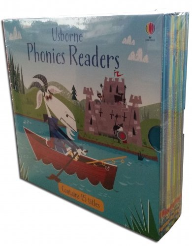 Usborne Phonics Young Readers 15 Picture Books Collection Box Set (Racoon on the Moon, Goat in the Boat, Llamas in Pyjamas, Fox on a box, Ted in a Red Bed, Teds Shed, Hens Pens, Big Pig on a Dig, Fat Cat on a Mat, Goose on a Loose, Frog on a Log, Toad Makes a Road, Mouse Moves House, Sam Sheep Cant Sleep, Shark in a Park)