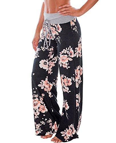 FASTYLING Damen Sporthose lang Freizeithose Ladies Floral Print Wide Leg Long Trousers Floral Cotton-hose