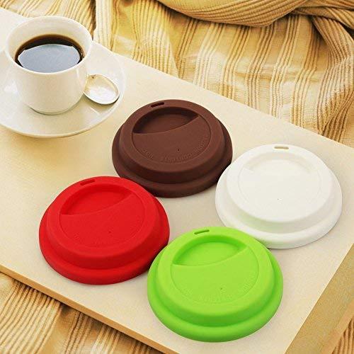 Wiederverwendbarer Silikon-Kaffeebecher-Deckel für Kaffeetassen, Becher-Deckel mit Strohloch für Zuhause und Reisen, geeignet für Tassen-Durchmesser von 8,8-9,2 cm, 4 Stück