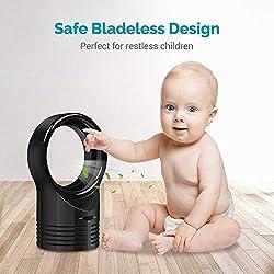 MU Ventilateur sans Lame portatif, Ventilateur de Bureau, Ventilateur de Table de Bureau Silencieux, léger et Durable pour la Maison, Chambre de bébé, Bureau extérieur