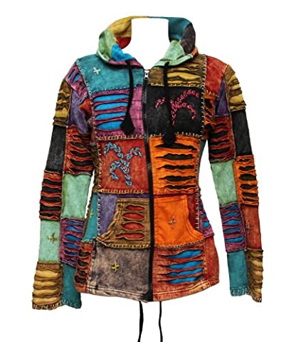 The Hippy Clothing Co. Nepalese Patchwork Torn Hoodie S/M