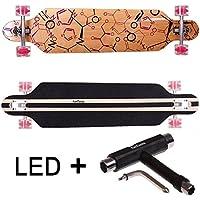 FunTomia Longboard Skateboard Drop Through Cruiser Komplettboard mit Mach1® ABEC-11 High Speed Kugellager T-Tool