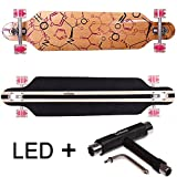 FunTomia Longboard Skateboard Drop Through Cruiser Komplettboard mit Mach1® ABEC-11 High Speed Kugellager T-Tool (Modell Freerider2 - Farbe Phrase mit LED Rollen + T-Tool)