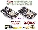 TECNOIOT 2pcs NodeMcu Lua WiFi Internet of Things Development Board Based ESP8266 CP2102