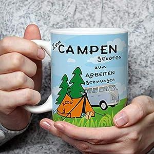 Geschenk Tasse Camping lustig mit Camper Spruch Zum Campen geboren Campingmotiv Geburtstagsgeschenk für Frauen Männer Campingfreunde
