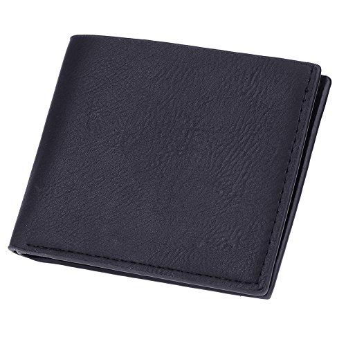Amazingdeal365 Uomo Tempo Libero Pu Pelle Breve Portafoglio Business Card Holder Borsa (Nero) Nero