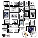 bomoe Set di 30 Cornici per foto Emotion - Cornici foto collage - collage portafoto - Nero - Cornici foto multiple da Parete - cornici in legno portafoto 10x 10,5x15cm / 15x 13x18cm / 5x 20x30cm