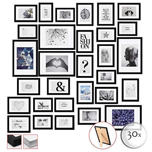 bomoe 30er Set Bilderrahmen Emotion Bilder-Collagen Fotorahmen aus Holz, Plexiglas, Metall-Aufhängung, Aufsteller & Passepartout - 10x 10,5x15cm / 15x 13x18cm / 5X 20x30cm - Schwarz