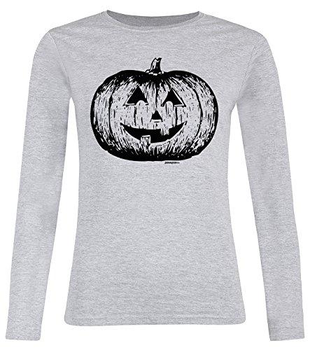 Gruseliges Halloween Fun Langarmshirt Damen - Halloween Pumpkin - T-Shirt Unisex, Farbe: Grau (Gruseligsten Halloween Kostüme Für Frauen)
