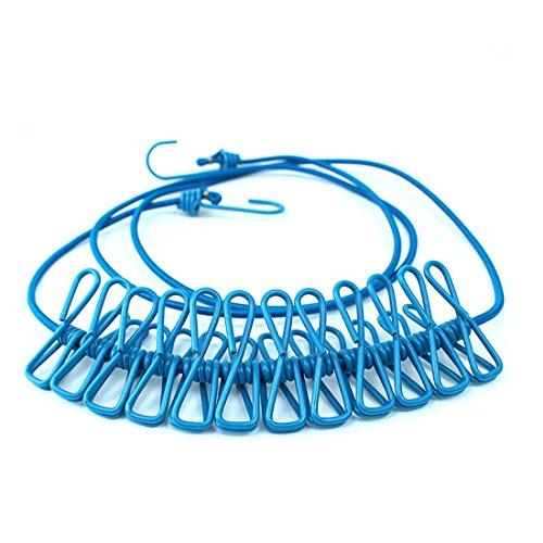 NoyoKere en Plein air Camping Windproof Vêtements Corde Portable Voyage Stretchy Corde À Linge Cordon avec 12 Pince Clips Crochets Bleu