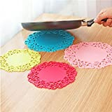 Mallika Creation Round Shape With Design Silica Gel Anti Hot Heat Resistant Pot Holder Disc Pads/Car Dashboard Anti-Slip-Resistant Pad/Dining Table Mat Placemat Coasters - Set Of 2 (Assorted Colors)