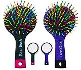 Multifunktionale Styling Haarbürste - Volume-Booster - LILA-SCHWARZ - Volumenbürste - Mit integriertem Spiegel und Massagefunktion - Funky Brush - Rainbow Kinder-Haarbürste - handlich und mobil