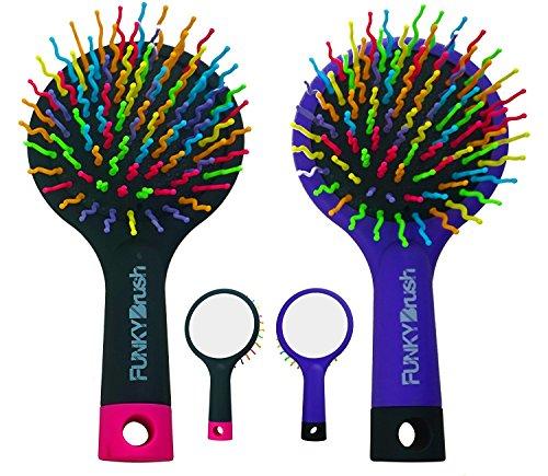 Multifonctions style Brosse à cheveux - Brosse de volume Booster - Volume - avec miroir intégré et fonction massage - Funky Brush - Rainbow Brosse à cheveux - maniable et mobile