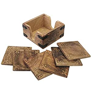 6 Hand Carved Wooden Burnt Wood Style Coasters & Holder