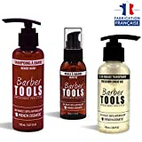 ✮ BARBER TOOLS ✮ Kit cosmétique pour barbe - Huile à barbe 50ml + Shampoing à barbe - 150ml + Gel de rasage transparent 100ml | Pour l'entretien et le soin de barbe - FABRIQUE EN FRANCE