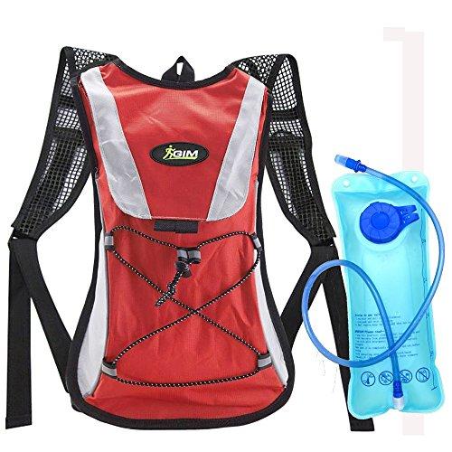G-i-Mall Zaino idrico Backpack Hydrobak Backpack borsa con 2L Idratazione Sacca idrica per Ciclismo, Campeggio, Trekking, Outdoor Attivita Esterna (Rosso)