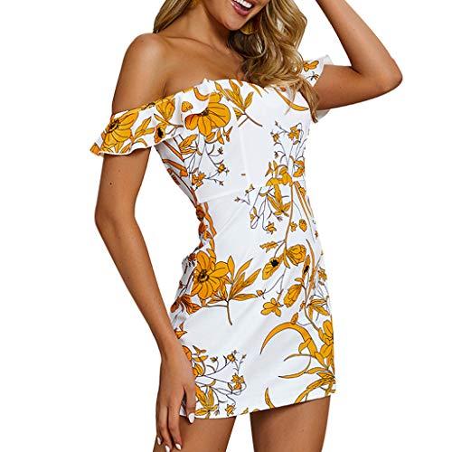 Damen Sommer Rüschen Strand Tragen Bikini Vertuschen Boho Gedruckt Mini Sonne Kleider ()