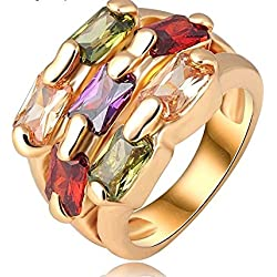 18K Rose Gold Plate Genuine SWA Elements Austrian Crystal Exaggerated Ring Fashion Jewelry For Girls Ladies By JewelQueen