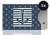 OPTEXX 5x RFID Schutzhülle TÜV geprüft & zertifiziert Seemann Anker/Sailor anchor für Kreditkarte EC-Karte Personal-Ausweis Hülle sicheres Blocking von Funk Chips