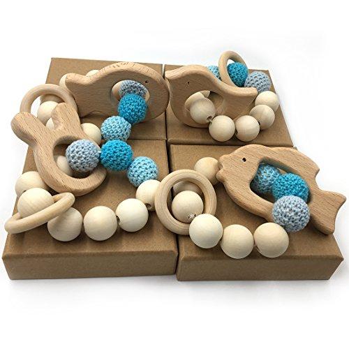 Coskiss 4pcs Múltiples combinaciones Crochet Bead dentición anillo Set Untreated Beech dientes con madera orgánica Animal Toy pulsera de madera Baby Mom niños de madera Teether Bangle (color 19)