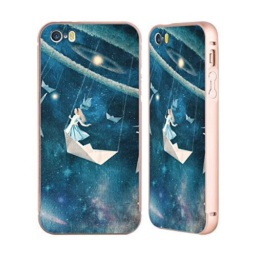 Ufficiale Paula Belle Flores La Mia Casa Da Sogno Spazio Surreale Oro Cover Contorno con Bumper in Alluminio per Apple iPhone 5 / 5s / SE La Mia Giostra Preferita