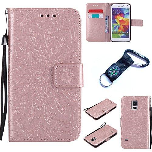 Preisvergleich Produktbild für Samsung Galaxy S5 Hülle Blume Premium PU Leder Schutzhülle für Samsung Galaxy S5 I9600 (5,1 Zoll (12,9 cm) Bookstyle Tasche Schale PU Case mit Standfunktion+Outdoor Kompass Schlüsselanhänge) #Q