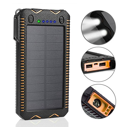 Solar Ladegerät 15000mAh KOBWA Im Freien Portable Solar Powerbank mit Zigaretten-Feuerzeug IP65 Imprägniern Staubdichtes Shockproof Doppel-USB-Port-Doppel-LED-Licht Passend für IPhone, IPad, Samsung, Handy, Tablet Etc (Doppel-led-licht)