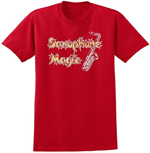 MusicaliTee Saxophone Sax Tenor Magic - Red Rot T Shirt Größe 87cm 36in Small
