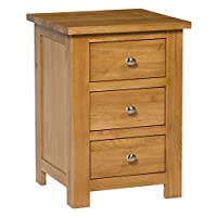 Hallowood Waverly Bedside Table in Light Oak Finish | Narrow Side/Lamp Nightstand | Solid Wooden Drawered Cabinet, (WAV-BET3D)