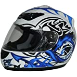 protectWEAR - Casque de moto bleu blanc Dragon design H 510-11-L