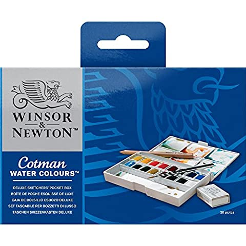 Winsor & Newton - Cotman Water Colour Paints Deluxe 16 Half Pans Sketchers' Pocket Box
