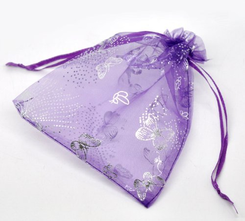 AIEDE 50 Dark purple Butterfly Organza Wedding