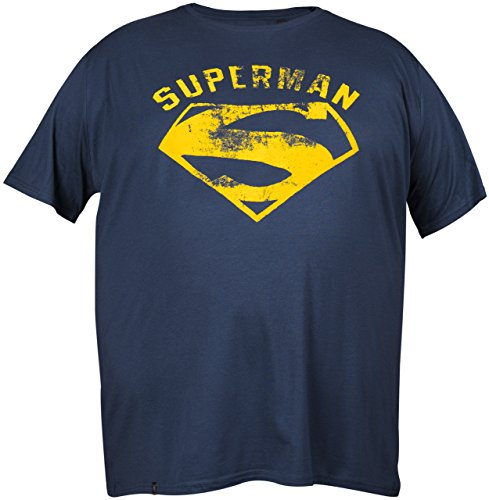 GOZOO Superman Classic T-Shirt Übergröße Herren Vintage Superman Logo Flock Blau 8XL (Superman Muskel Anzug)