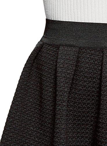 oodji Ultra Damen Rock aus Strukturiertem Stoff mit Elastischem Bund Schwarz (2900N)