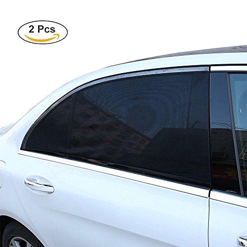 Preisvergleich Produktbild YOCZOX 2 PCS Sonnenschutz, universelle Sonnenblende, Fenstersocke, Seitenscheibensabdeckung, einfache Anbringung an den Seitenfenster, passgenau meiste Autos für Kinder, Hund etc. Schwarz, 110 x 50cm