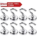 Magnetic Hooks-Magnetic Hook,Magnet Hook,Super Strong Neodymium Magnetic Hooks with Versatile Use Kitchen,Office,Garage,Pull Hold up to 40 pounds(18KG) 8 Pack (25mm-8Pack)
