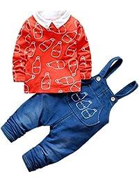 CHIC-CHIC Ensemble Salopette avec Haut Longues Manches Bébé Garçon Fille Jeans Denim T-shirt Mignon