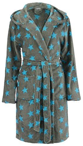 Brandsseller Damen Bademantel mit Sternen - in den Größen: S/M - in der Farbe: Grau/Türkis