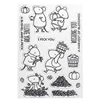 Suweqi Silicone Cartoon Mouse Stamp Seal Cute Patterns DIY Scrapbook Photo Album Card Decor English Letters