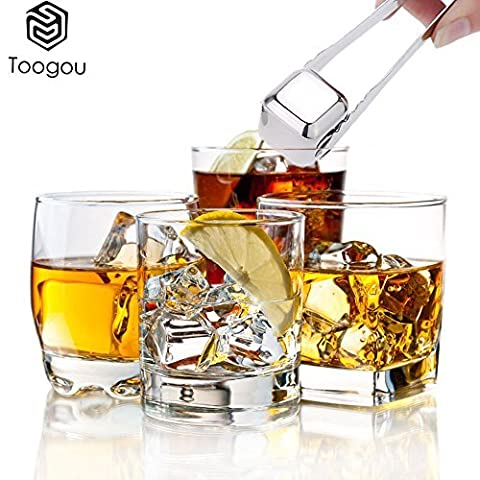 Whiskey Steine–toogou von 8mit Kunststoff Aufbewahrungsbox Zange, Edelstahl wiederverwendbar Wein Eiswürfel, Whisky Chillen Felsen, Whisky Steine und Trinken Steine silber