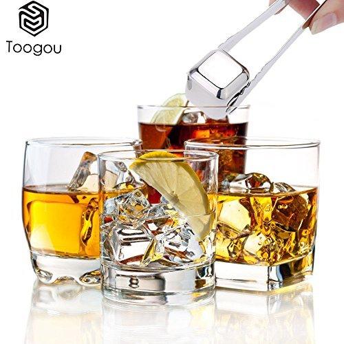 Safe-t-beam (Whiskey Steine–toogou von 8mit Kunststoff Aufbewahrungsbox Zange, Edelstahl wiederverwendbar Wein Eiswürfel, Whisky Chillen Felsen, Whisky Steine und Trinken Steine silber)
