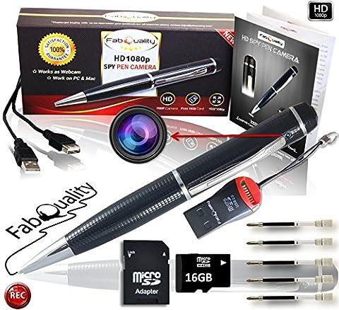 fabquality versteckter Kamera Spy Pen 1080P. Inkl. 16GB SD, real HD Video, Stimme + Bild Upgraded Akku & 5Tinte füllt INC. Executive Multifunktions DVR. Perfekte Geschenk