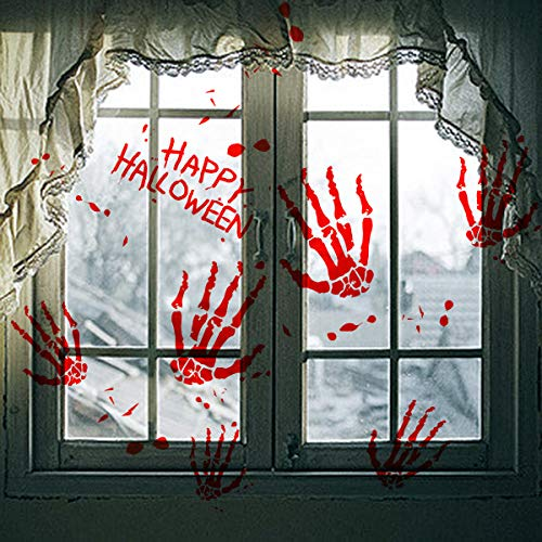 3PCS blutigem Handabdruck Halloween Fenster klammert Sich an Wand , Vampire Zombie Party geburtsurkundenhalterung Aufkleber Aufkleber Dekorationen (Halloween Metzger Dead)